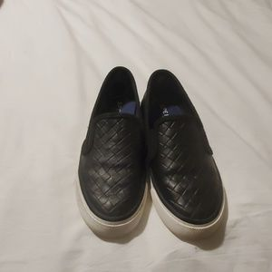 Sperry size 5 black slip on shoes